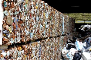 'Bales' of compacted cans awaiting transportation